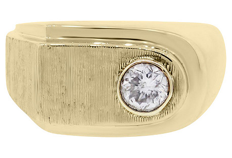 14K Gold, Bezel-Set Diamond Men's Ring