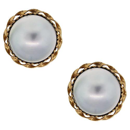 14K Gold, Dark Mobe Pearl Earrings