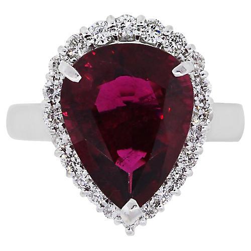 Platinum Pear Rubellite Diamond Ring