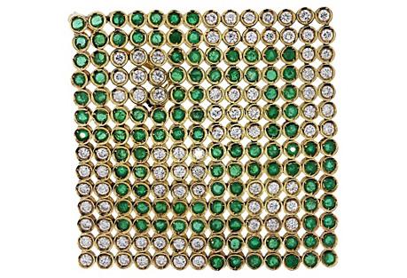 Gold Diamond & Emerald Flag Pin