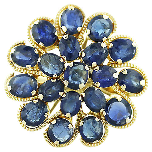 Gold & Sapphire Cluster Ring