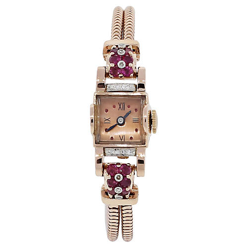 14k Rose Gold Deco Diamond Ruby Watch