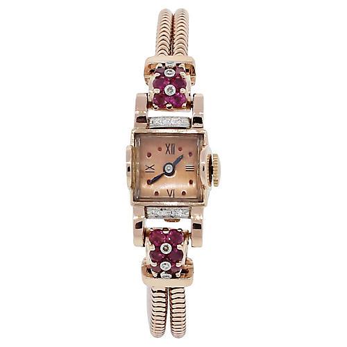 14k Rose Gold Deco Diamond Ruby Watch