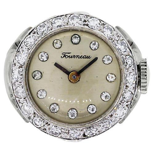 Tourneau 14k Diamond Ring Watch