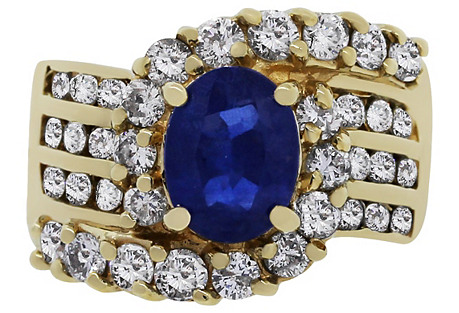 Yellow Gold Oval Sapphire Diamond Ring