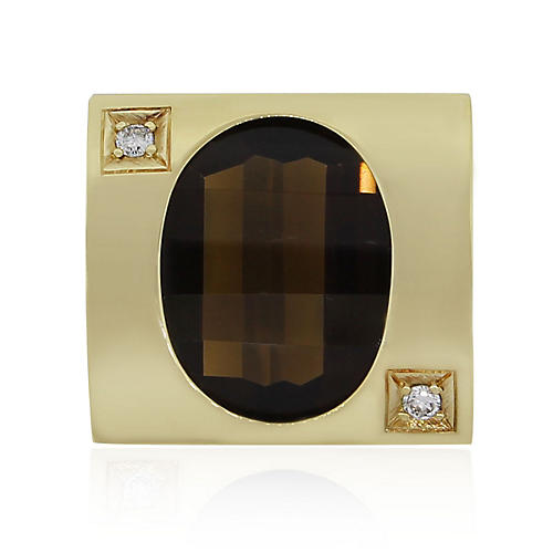 18k Yellow Gold Smoky Quartz Ring
