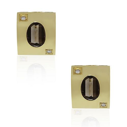 18k Yellow Gold Smoky Quartz Earrings
