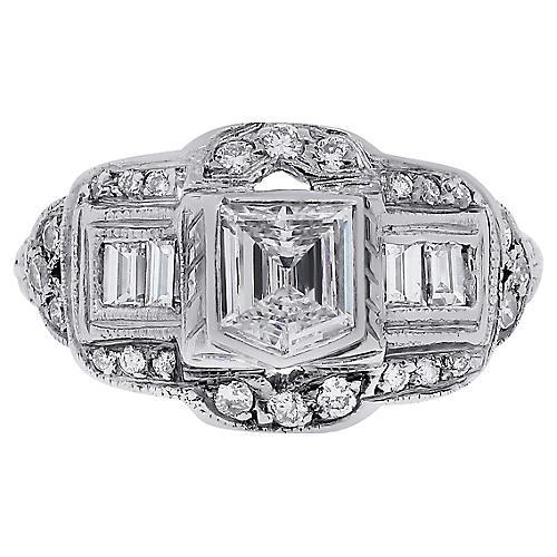 Platinum Shield Step GIA Diamonnd Ring