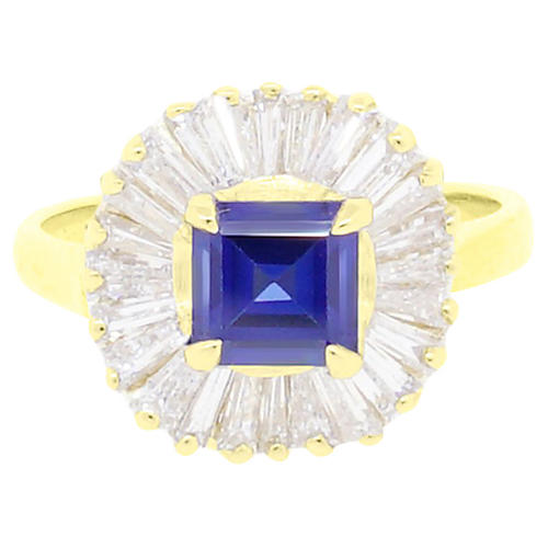 Gold, Diamond & Sapphire Ballerina Ring