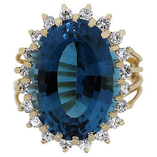 14k Gold, Diamond & Topaz Ring