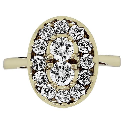 14k Gold & Diamond Cluster Ring