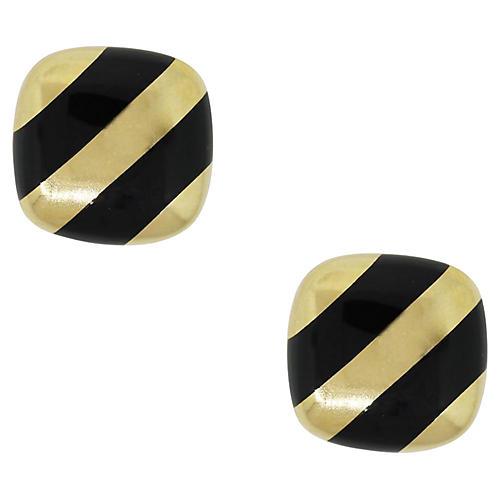 Gold & Black Enamel Cufflinks