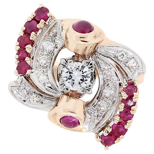 Retro Rose Gold, Diamond & Ruby Ring