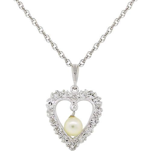 14K, Pearl & Diamond Heart Necklace