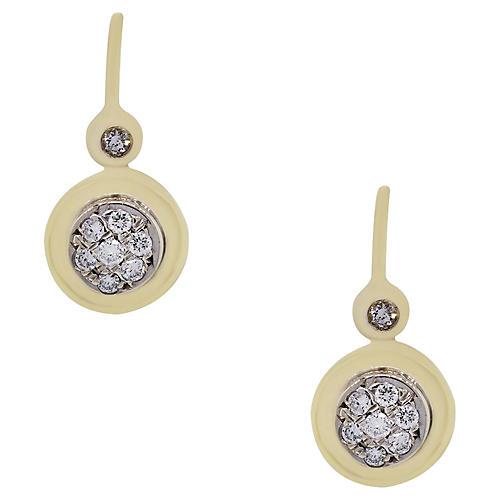 18k Yellow Gold Diamond Dangle Earrings