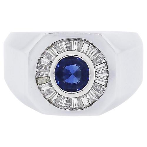 Platinum, Diamond & Sapphire Ring