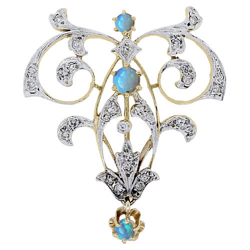 Gold, Diamond Opal Brooch Pin