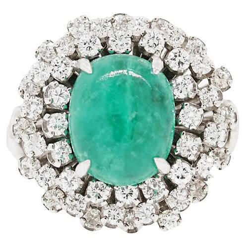 18k White Gold Cabochon Emerald Ring