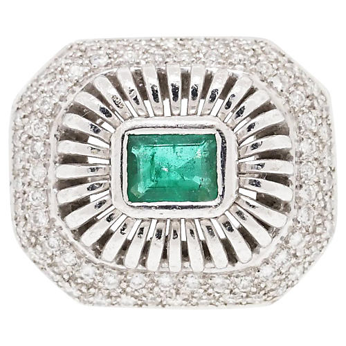 18k White Gold Diamond Emerald Ring