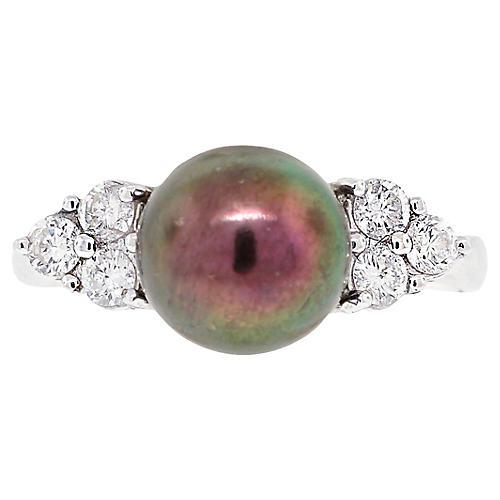 White Gold Black Pearl Diamond Ring