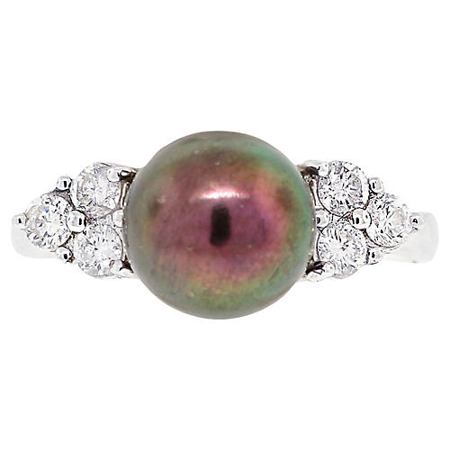 18K Gold, Black Pearl & Diamond Ring