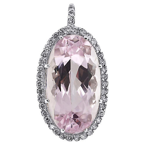 White Gold Diamond/Kunzite Pendant