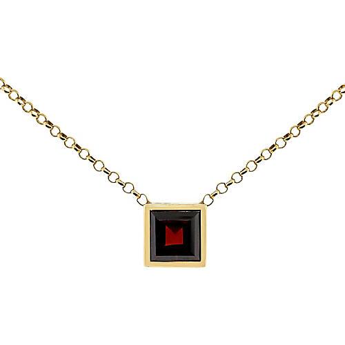 18k Yellow Gold Garnet Pendant Necklace