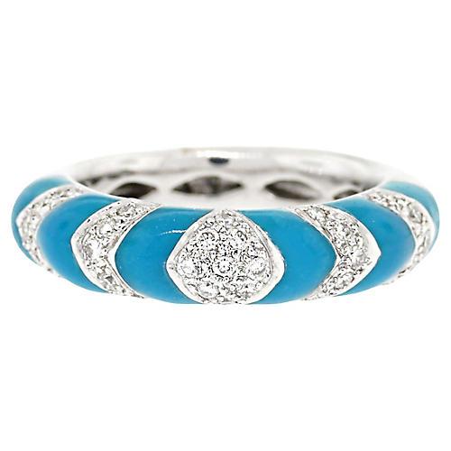 White Gold 0.33ctw Diamond/Enamel Ring