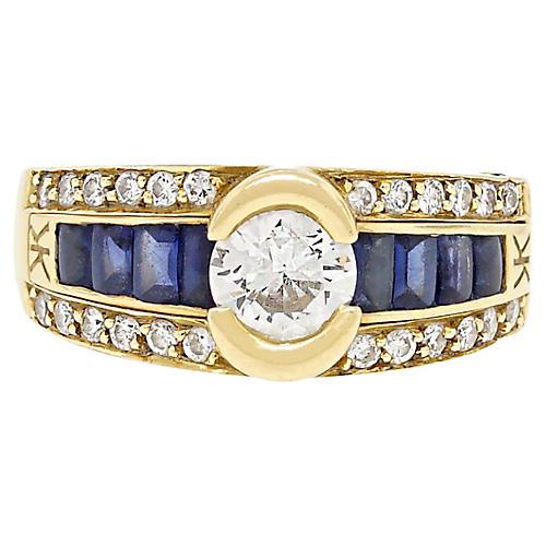 18K Gold, Diamond & Sapphire Ring