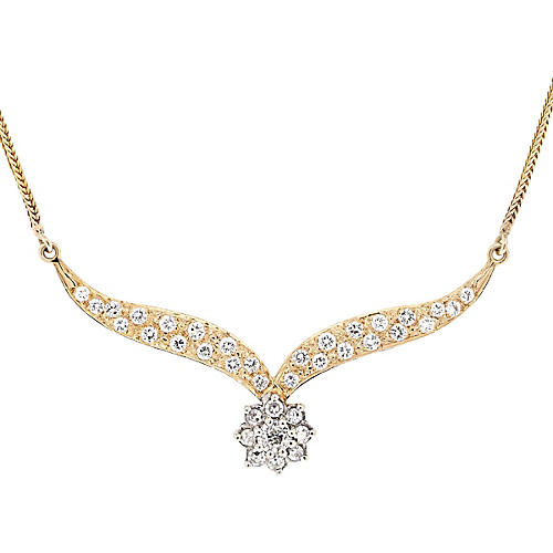 14k Yellow Gold Diamond Floral Necklace
