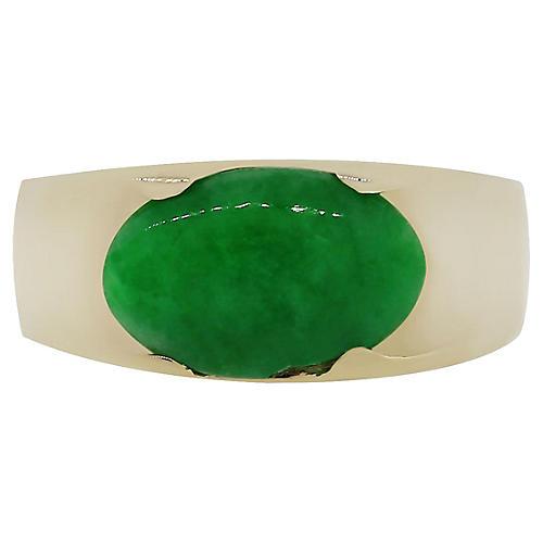 14k Yellow Gold Oval Jade Gemstone Ring