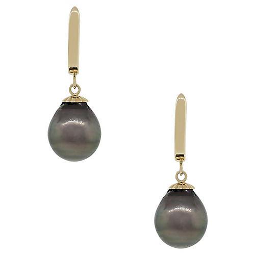 14k Yellow Gold Tahitian Pearl Earrings