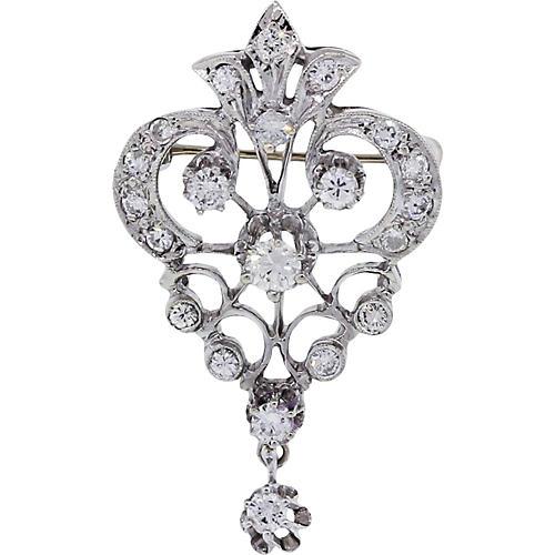 Gold, Diamond Vintage Pin and Pendant