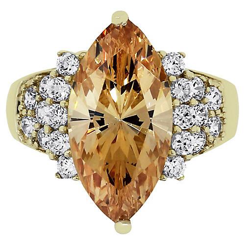 10k Yellow Gold Orange Marquise CZ Ring