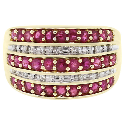 Gold, Diamond and Ruby Ring