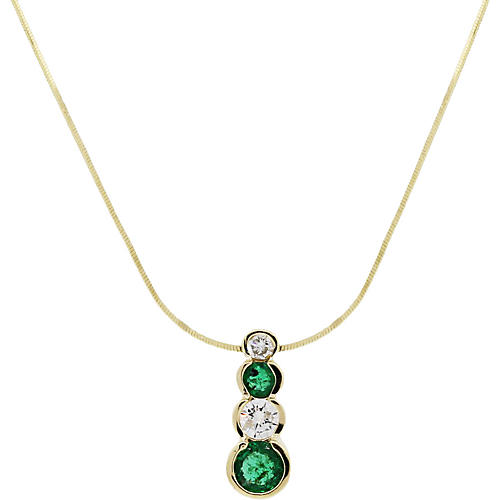 Gold, Diamond and Emerald Drop Necklace