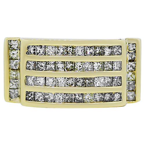 Yellow Gold Invisible Set Diamond Ring