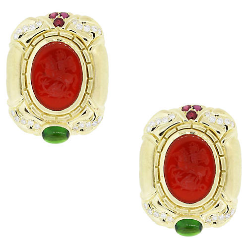 18k Gold, Diamond and Gemstone Earrings