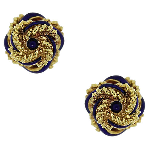 18k Gold and Enamel Knot Cufflinks