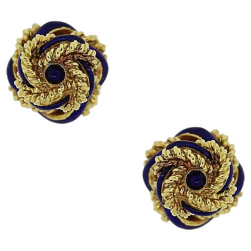 18K Gold & Enamel Knot Cuff Links