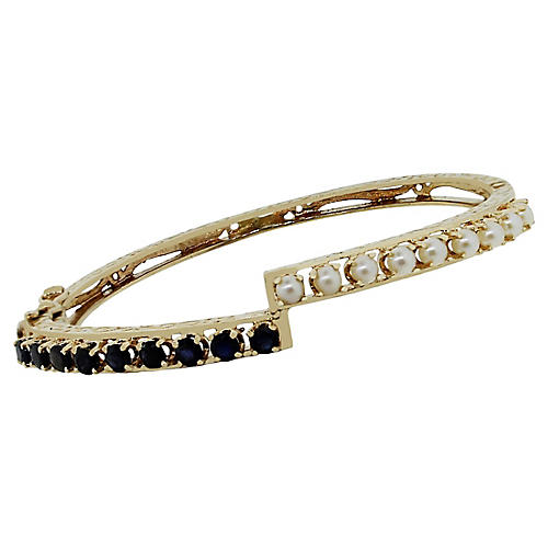14k Yellow Gold Sapphire Pearl Bracelet