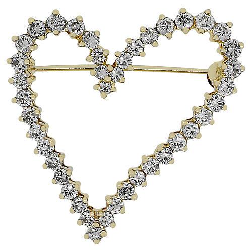 14K Yellow Gold Diamond Heart Pin