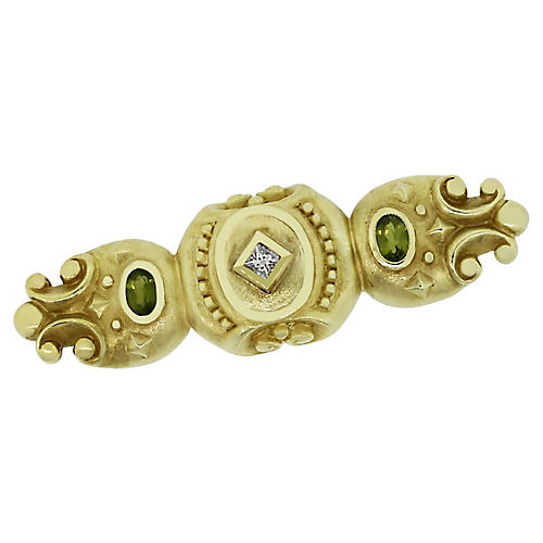 14k Yellow Gold Diamond Byzantine Pin