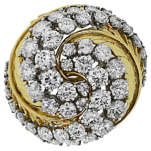 18k Gold 3ct Diamond Swirl Ring