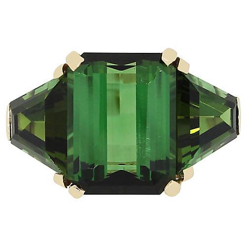 14k Yellow Gold Green Tourmaline Ring
