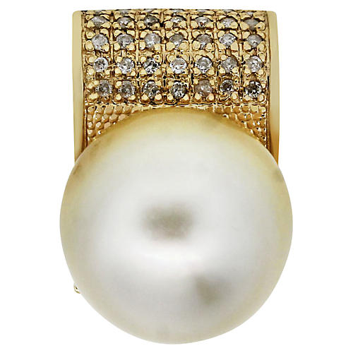 14k Yellow Gold Diamond Pearl Pendant