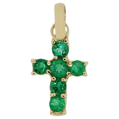 18k Emerald Cross Pendant
