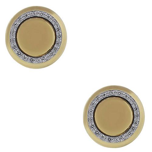 18k Yellow Gold Diamond Button Earrings