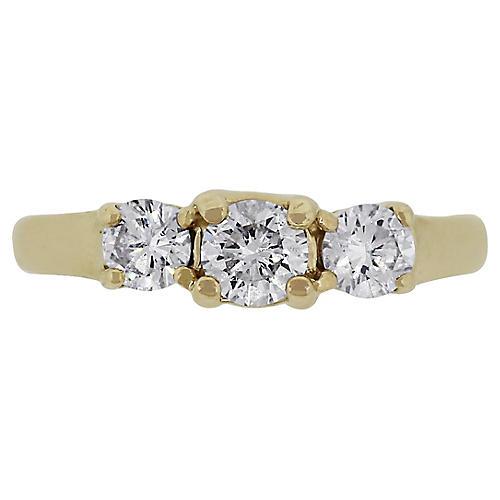 14k Three Stone Diamond Ring