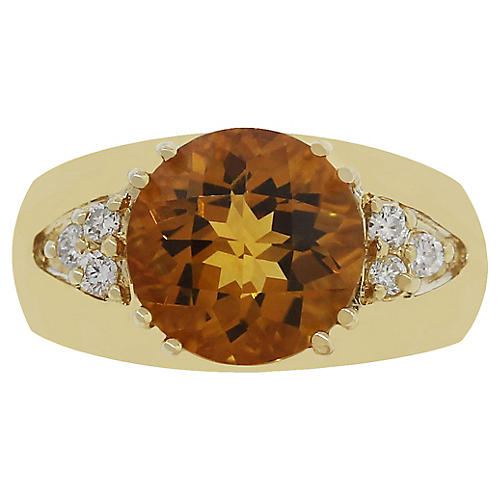 10k Diamond Citrine Ring